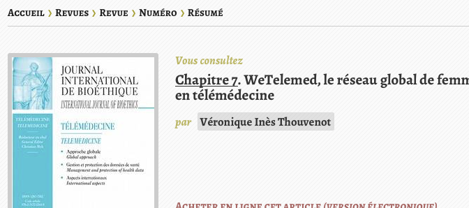 New publication: WeTelemed, the global network of women in telemedicine
