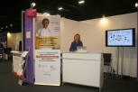 Dr Véronique Thouvenot ... we did not receive our promotional posters on time , so the stand is a bit emptier than intended